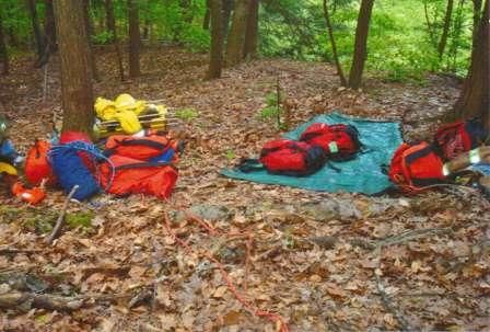 backpacks in the woods