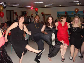 a group of people dancing