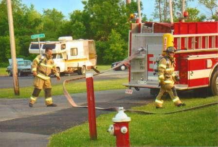 firemen and firetruck