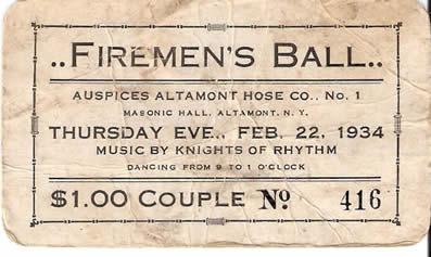 firemen's ball invitation from 1934